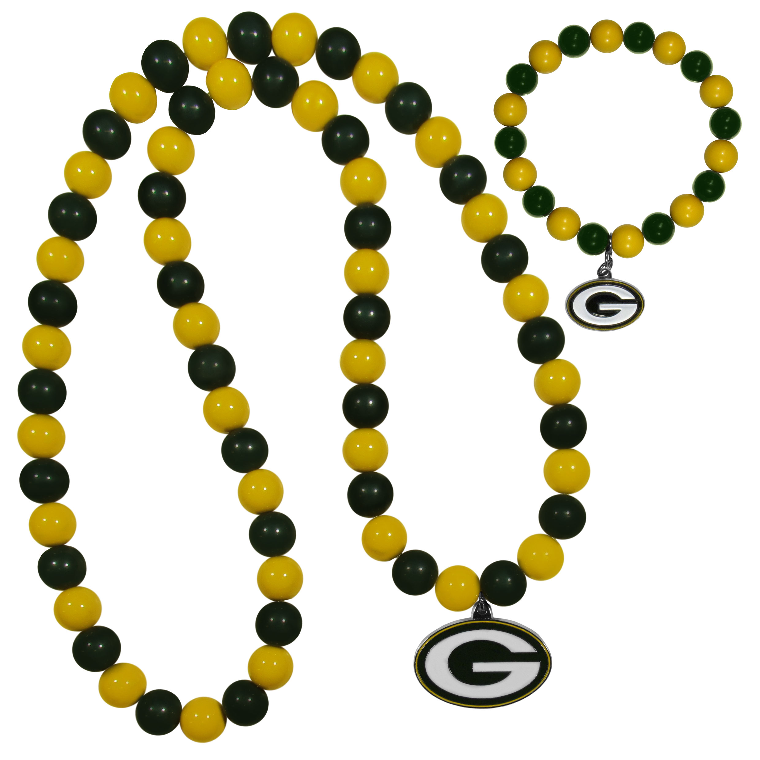 Green Bay Packers Fan Bead Necklace and Bracelet Set - These fun and colorful Green Bay Packers fan bead jewelry pieces are an eyecatching way to show off your team spirit. The striking necklace is a 24 inch string of alternating team colored beads with a large team pendant. The mathcing bracelet has alternating team colored beads on a stretch cord and features a matching team charm.