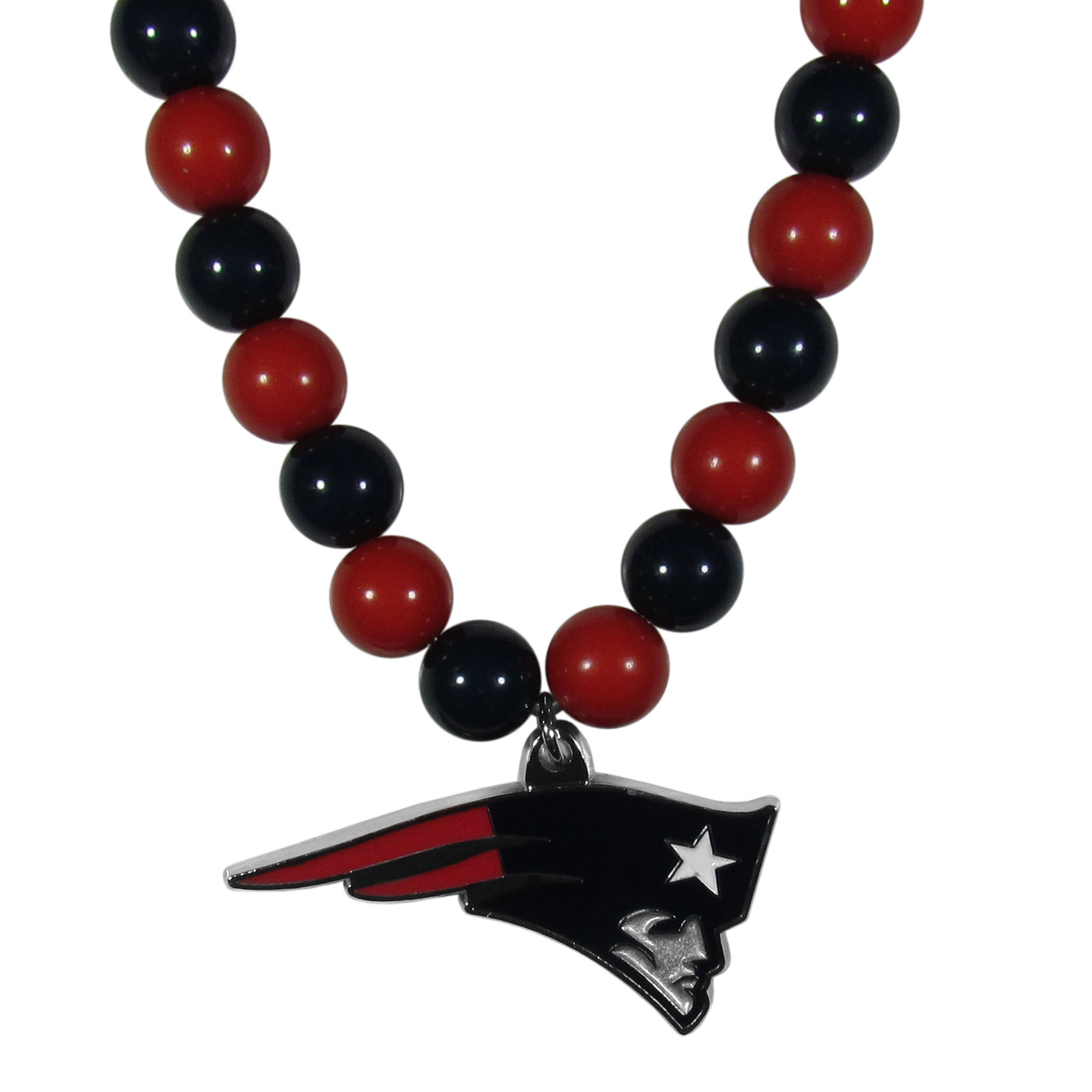 New England Patriots Fan Bead Necklace - Make a big statement with our fan bead necklaces! These brightly colored necklace have a 24 inch string of alternating colored beads with an extra large, high-polish New England Patriots pendant.