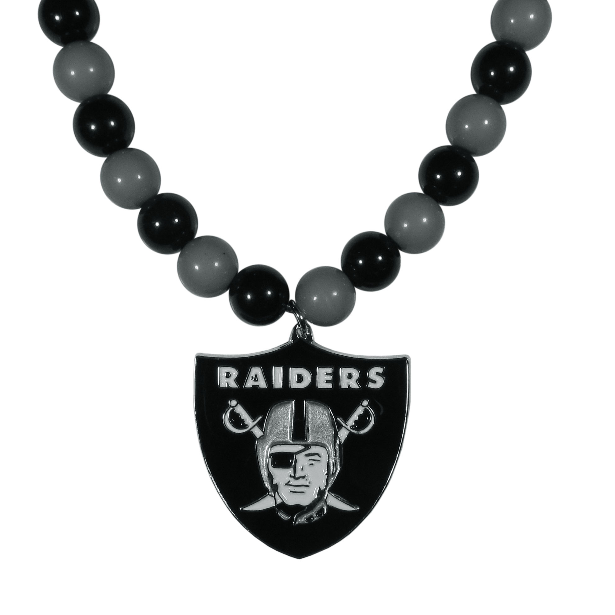 Oakland Raiders Fan Bead Necklace - Make a big statement with our fan bead necklaces! These brightly colored necklace have a 24 inch string of alternating colored beads with an extra large, high-polish Oakland Raiders pendant.