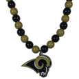 Los Angeles Rams Fan Bead Necklace - Make a big statement with our bold fan bead necklaces! The 24 inch stretch string is beaded with 66 alternating color beads to make an eye-catching necklace that is finished with a high polish, large Los Angeles Rams pendant with enameled team colors. This casual and fun piece is a game day must-have! Fans love the trendy style and sassy look of this popular fashion bead style that get noticed even in a sea of fans. A great gift idea for the fan in your life.