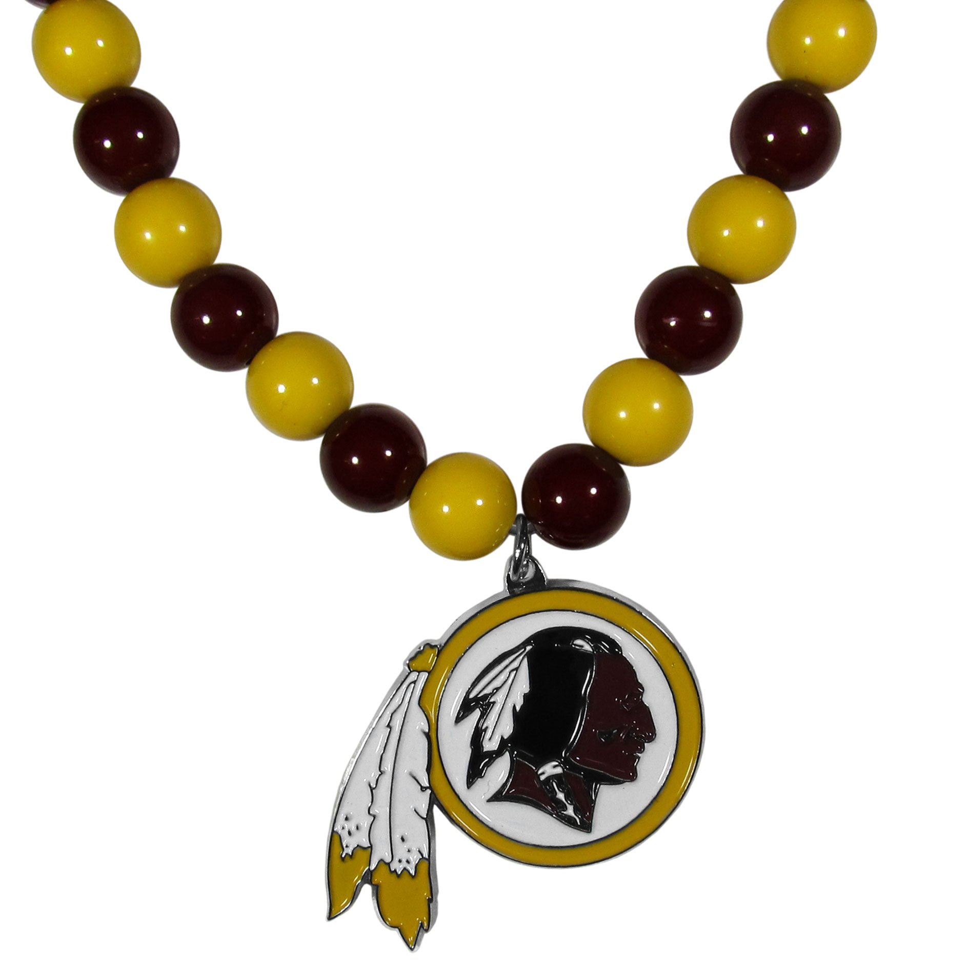 Washington Redskins Fan Bead Necklace - Make a big statement with our fan bead necklaces! These brightly colored necklace have a 24 inch string of alternating colored beads with an extra large, high-polish Washington Redskins pendant.