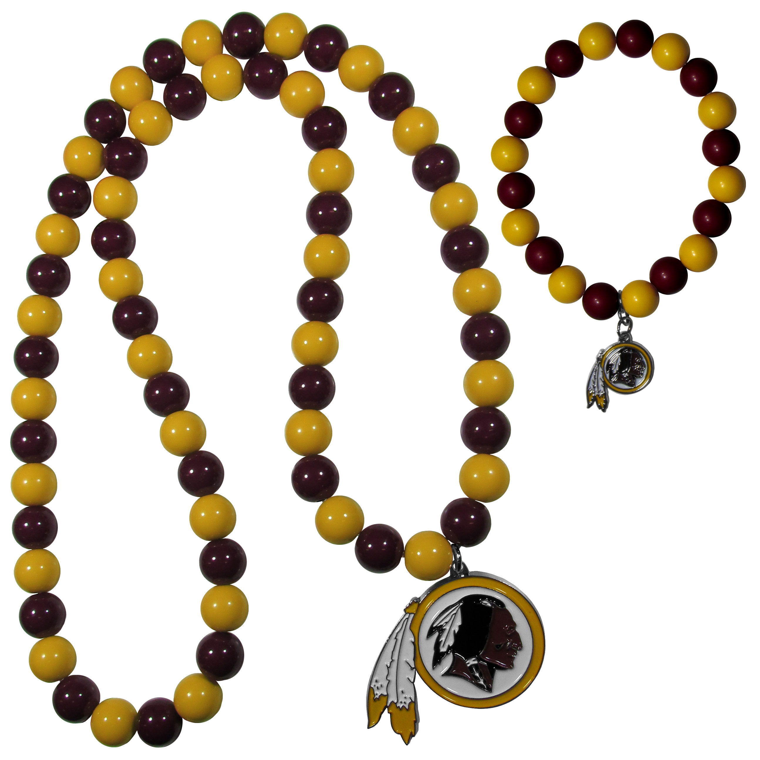 Washington Redskins Fan Bead Necklace and Bracelet Set - These fun and colorful Washington Redskins fan bead jewelry pieces are an eyecatching way to show off your team spirit. The striking necklace is a 24 inch string of alternating team colored beads with a large team pendant. The mathcing bracelet has alternating team colored beads on a stretch cord and features a matching team charm.