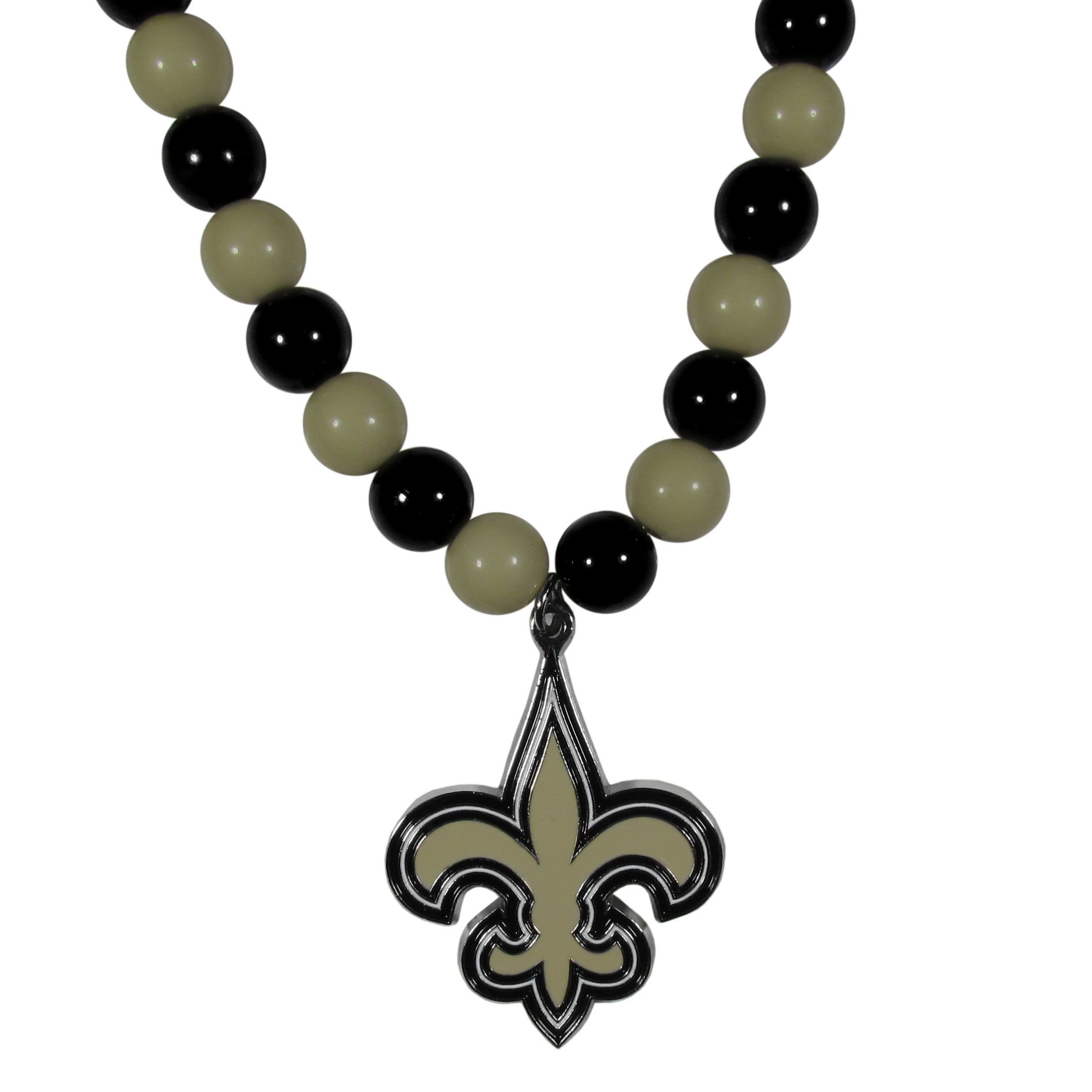 New Orleans Saints Fan Bead Necklace - Make a big statement with our fan bead necklaces! These brightly colored necklace have a 24 inch string of alternating colored beads with an extra large, high-polish New Orleans Saints pendant.