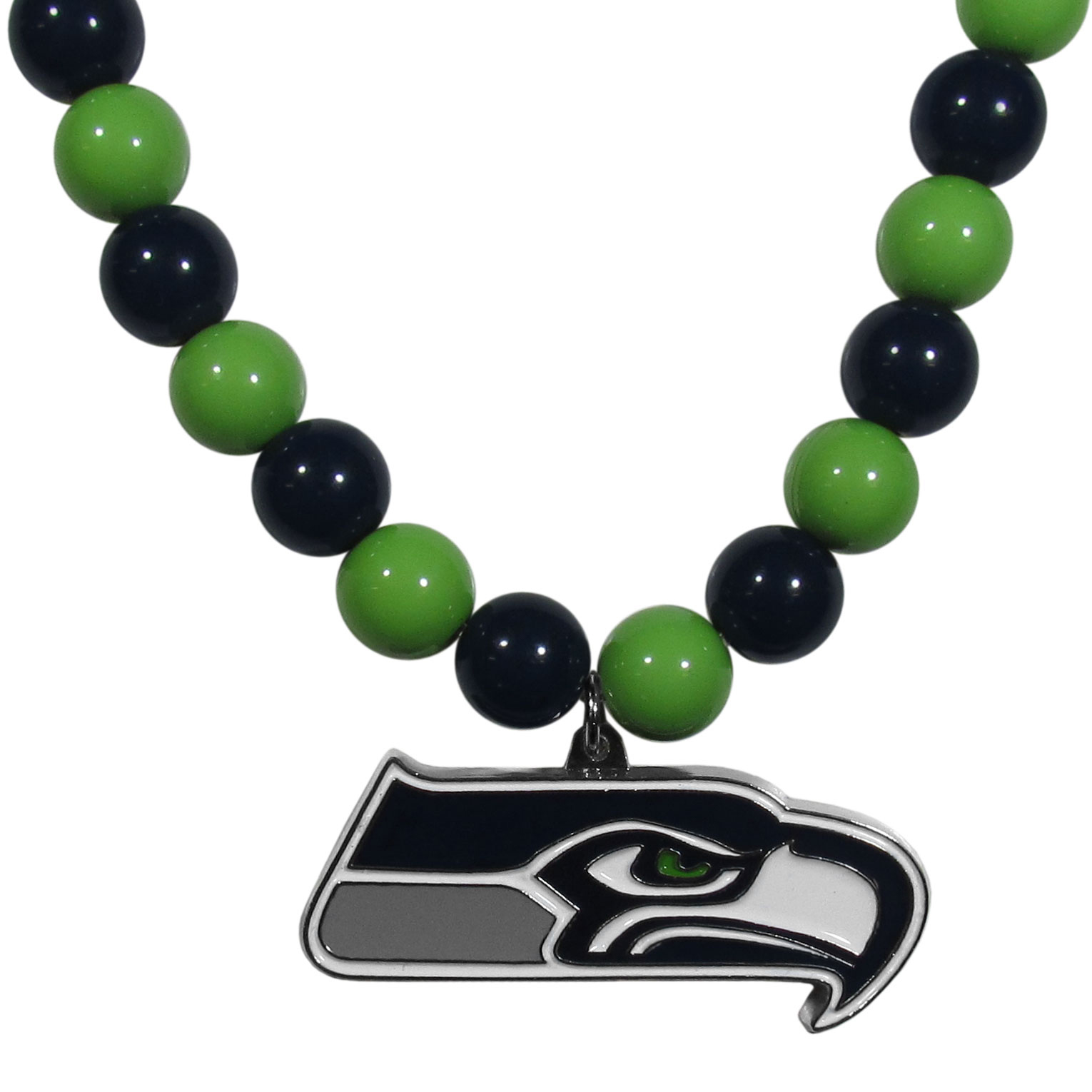 Seattle Seahawks Fan Bead Necklace - Make a big statement with our fan bead necklaces! These brightly colored necklace have a 24 inch string of alternating colored beads with an extra large, high-polish Seattle Seahawks pendant.