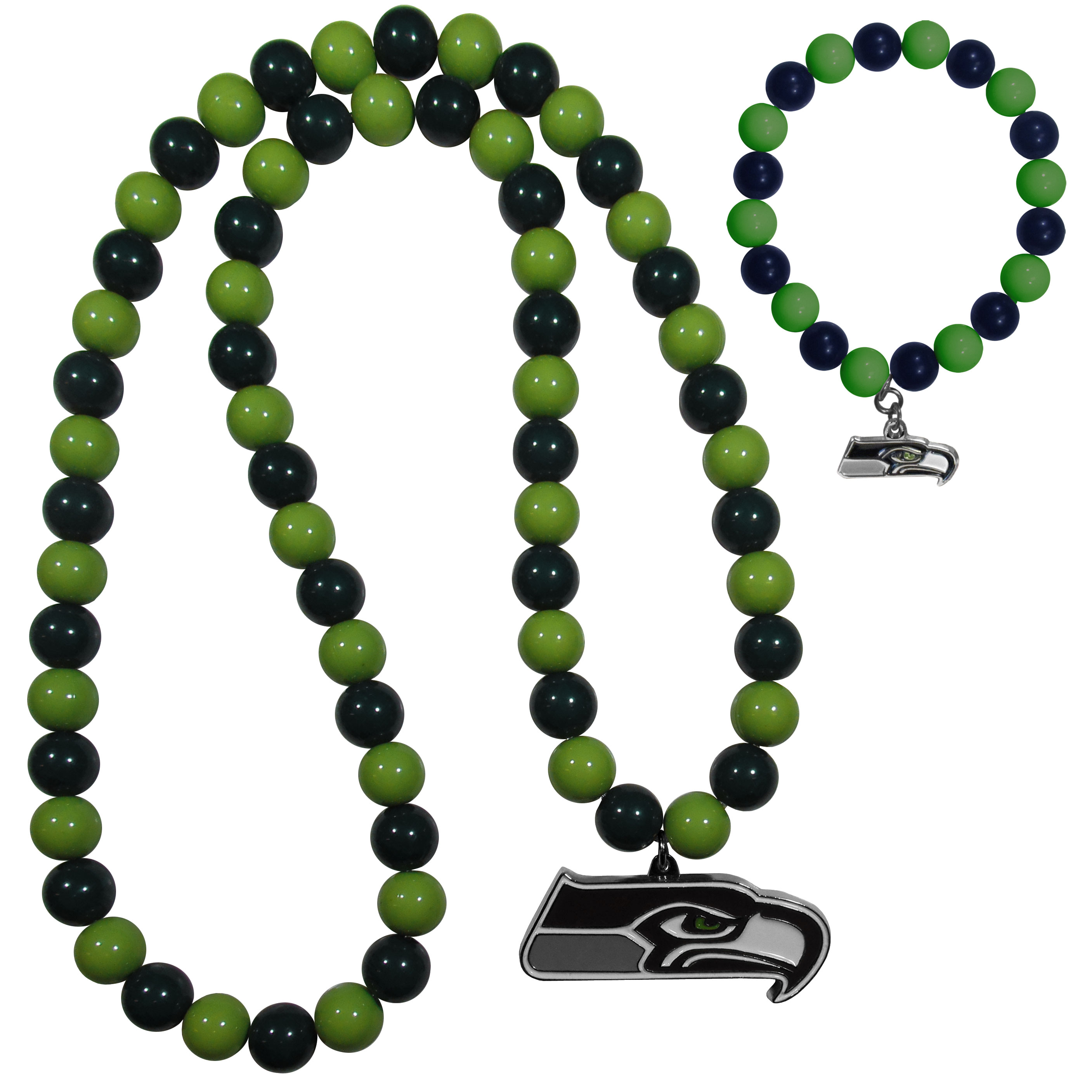 Seattle Seahawks Fan Bead Necklace and Bracelet Set - These fun and colorful Seattle Seahawks fan bead jewelry pieces are an eyecatching way to show off your team spirit. The striking necklace is a 24 inch string of alternating team colored beads with a large team pendant. The mathcing bracelet has alternating team colored beads on a stretch cord and features a matching team charm.