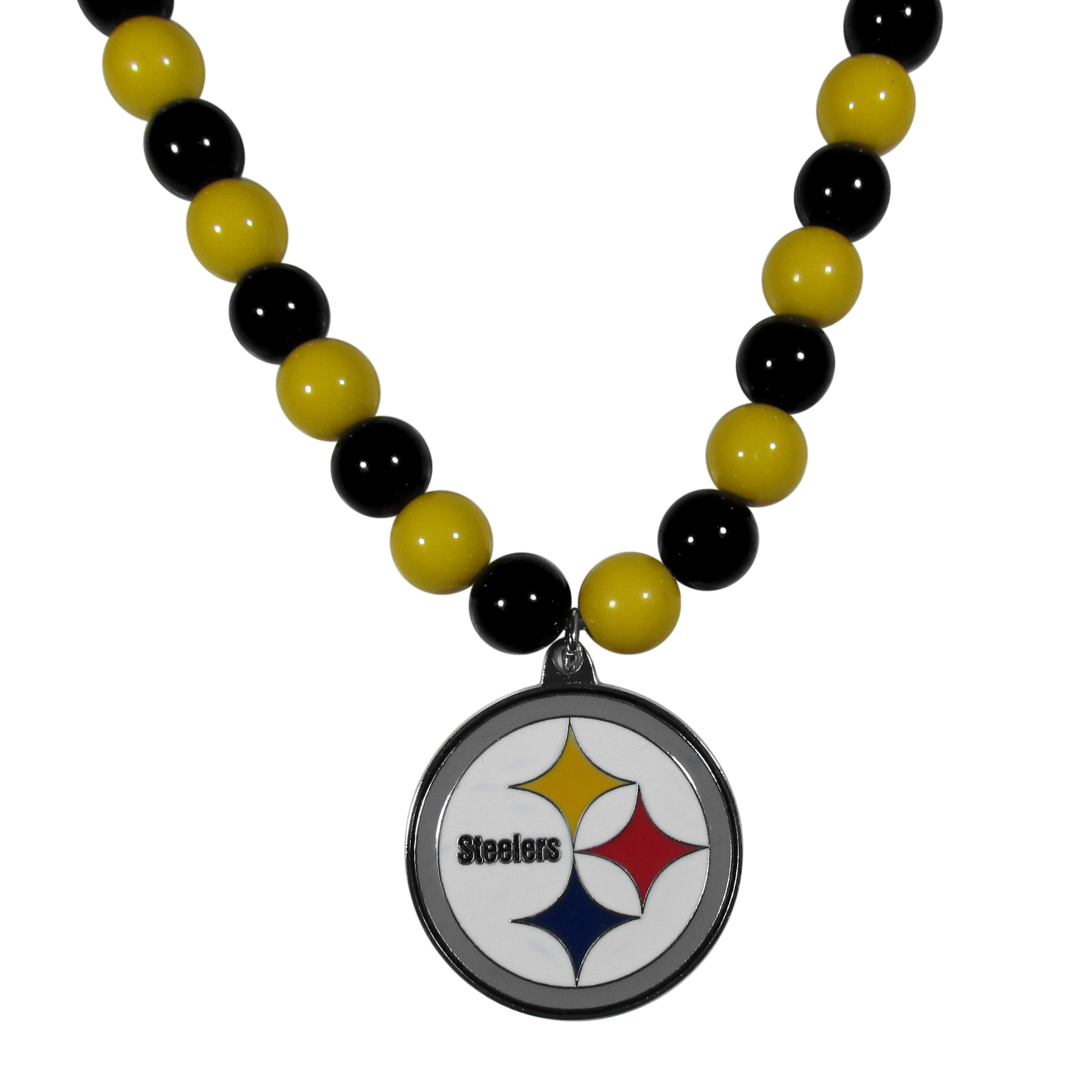 Pittsburgh Steelers Fan Bead Necklace - Make a big statement with our fan bead necklaces! These brightly colored necklace have a 24 inch string of alternating colored beads with an extra large, high-polish Pittsburgh Steelers pendant.