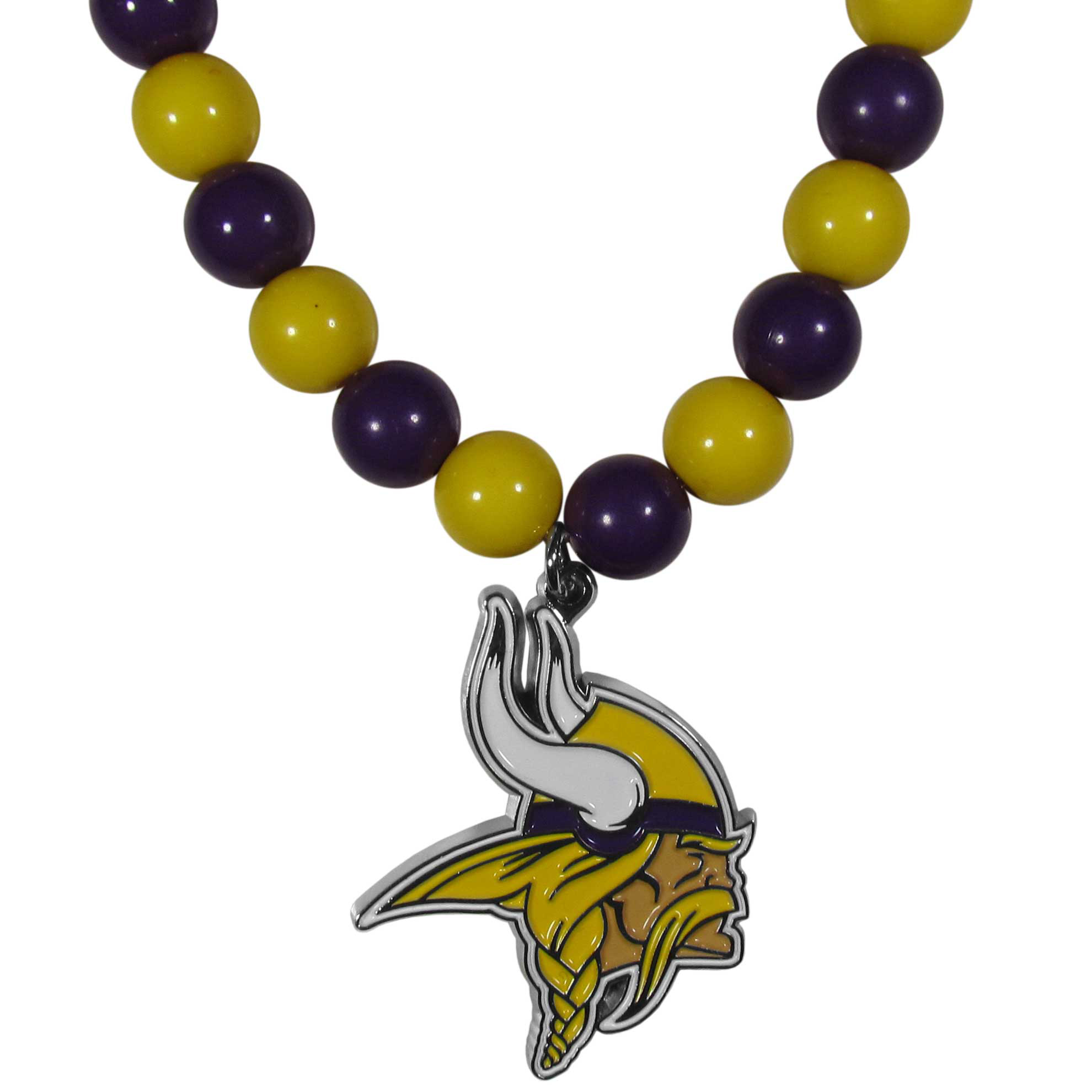 Minnesota Vikings Fan Bead Necklace - Make a big statement with our fan bead necklaces! These brightly colored necklace have a 24 inch string of alternating colored beads with an extra large, high-polish Minnesota Vikings pendant.