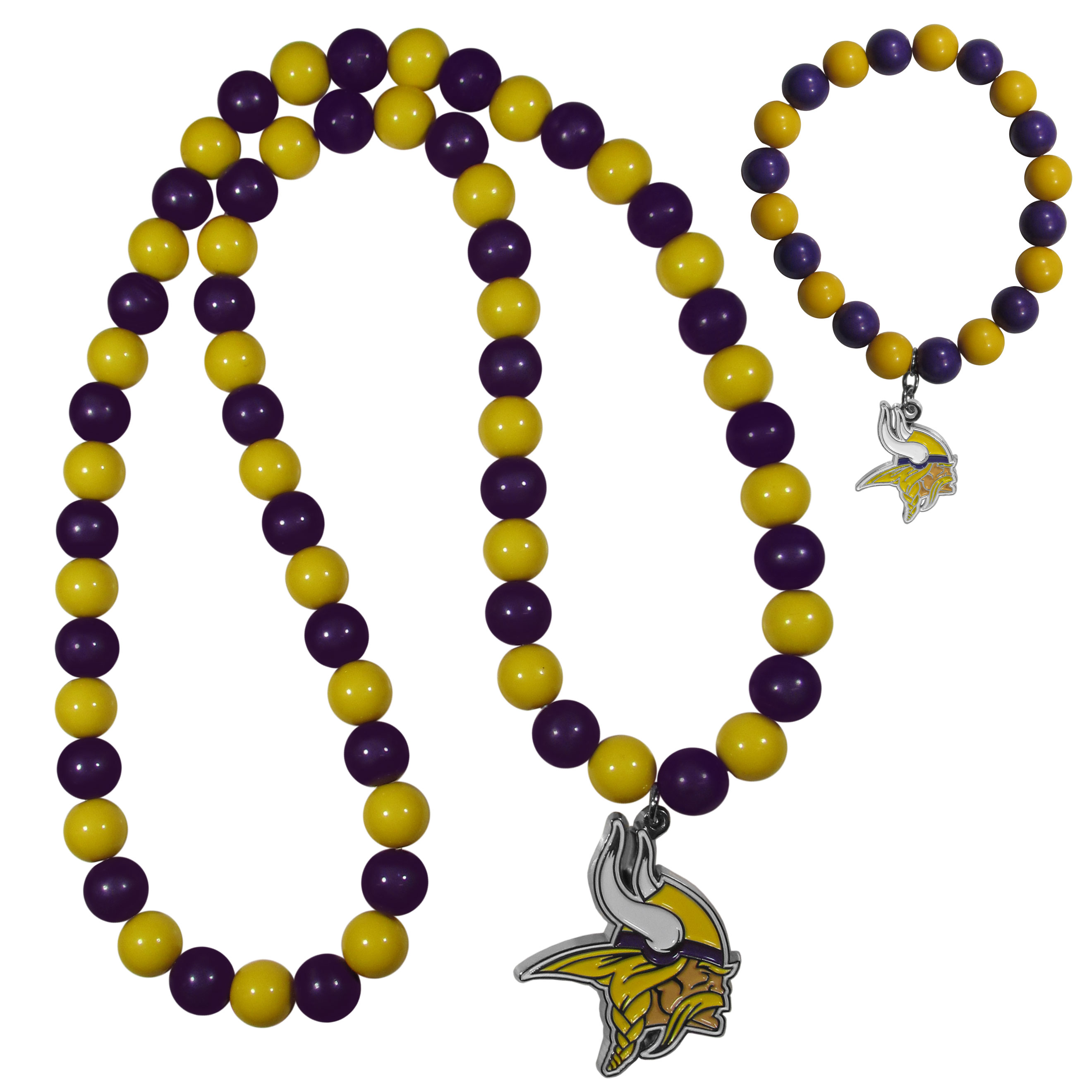 Minnesota Vikings Fan Bead Necklace and Bracelet Set - These fun and colorful Minnesota Vikings fan bead jewelry pieces are an eyecatching way to show off your team spirit. The striking necklace is a 24 inch string of alternating team colored beads with a large team pendant. The mathcing bracelet has alternating team colored beads on a stretch cord and features a matching team charm.