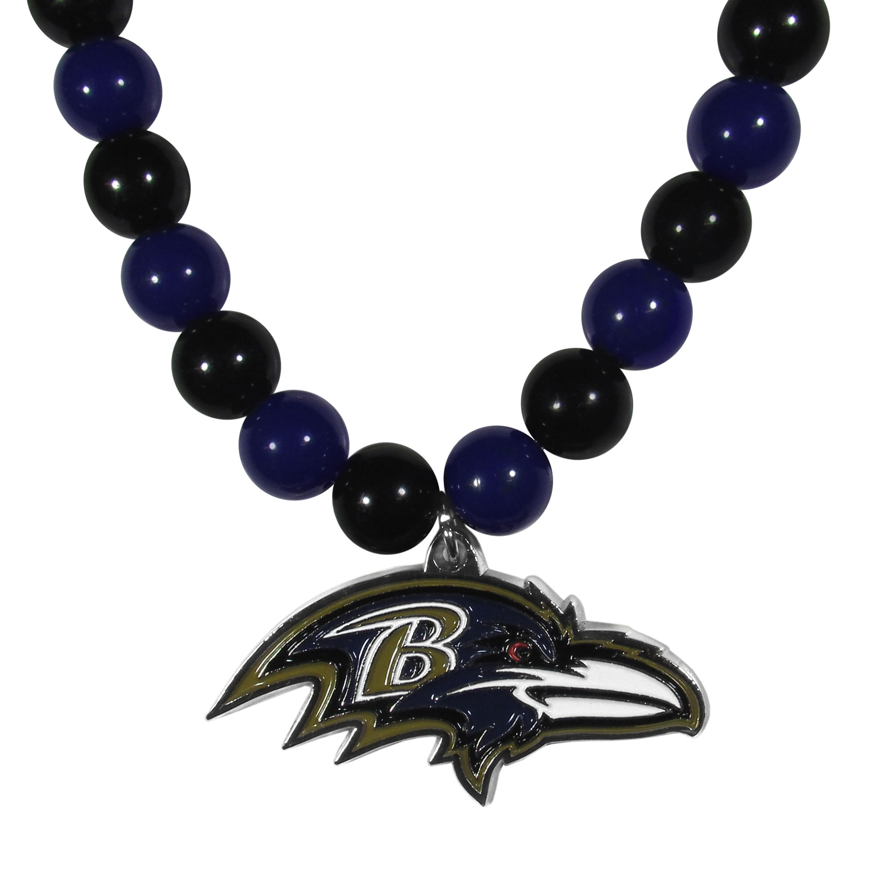 Baltimore Ravens Fan Bead Necklace - Make a big statement with our fan bead necklaces! These brightly colored necklace have a 24 inch string of alternating colored beads with an extra large, high-polish Baltimore Ravens pendant.