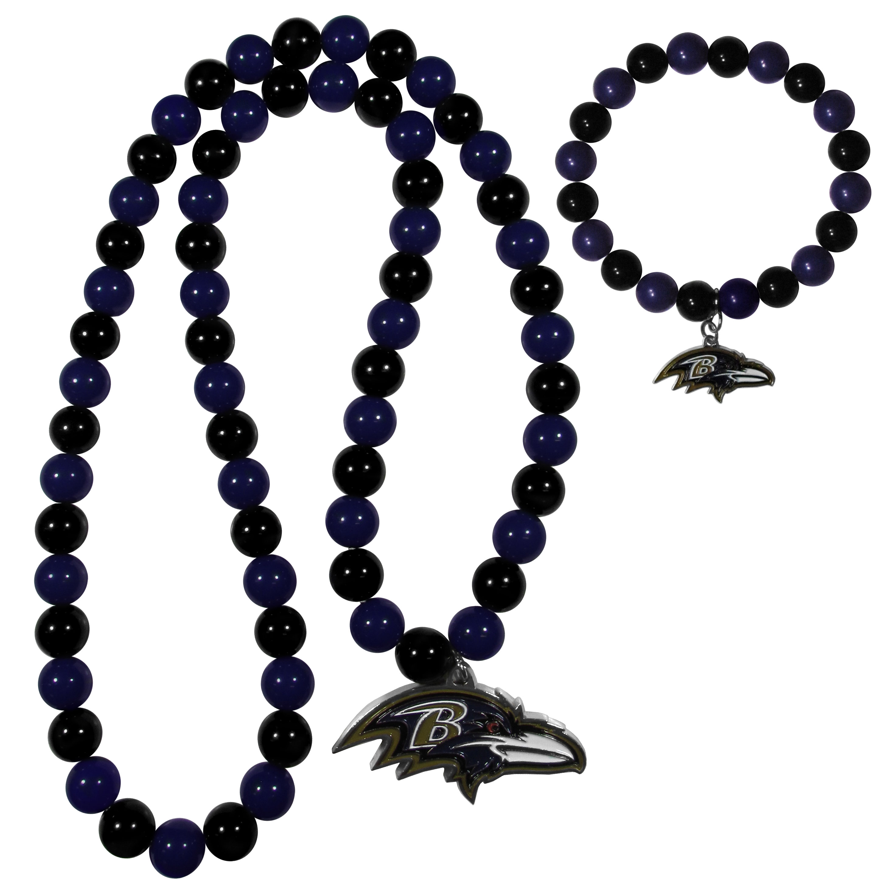 Baltimore Ravens Fan Bead Necklace and Bracelet Set - These fun and colorful Baltimore Ravens fan bead jewelry pieces are an eyecatching way to show off your team spirit. The striking necklace is a 24 inch string of alternating team colored beads with a large team pendant. The mathcing bracelet has alternating team colored beads on a stretch cord and features a matching team charm.