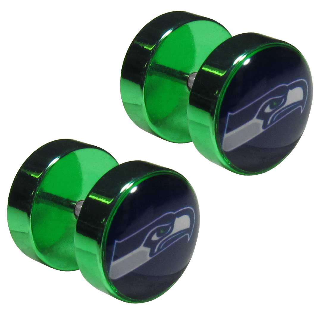 Seattle Seahawks Faux Ear Plug - Not ready to commit to stretching your ears, no problem! Our faux ear plugs have the same style but have a standard earring post. The plug earrings feature an inlaid Seattle Seahawks logo.