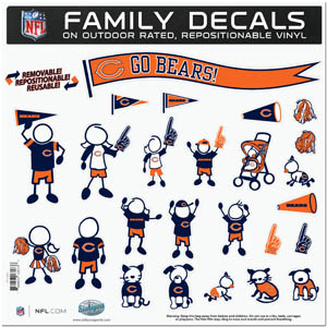 "Chicago Bears Family Decal Lg. - Show off your team pride with our Chicago Bears family automotive decals. The set includes 25 individual family themed decals that each feature the team logo. The 11"" x 11"" decal set is made of outdoor rated, repositionable vinyl for durability and easy application.  Officially licensed NFL product Licensee: Siskiyou Buckle .com"