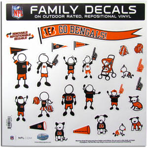 "Cincinnati Bengals Family Decal Lg. - Show off your team pride with our Cincinnati Bengals family automotive decals. The set includes 25 individual family themed decals that each feature the team logo. The 11"" x 11"" decal set is made of outdoor rated, repositionable vinyl for durability and easy application.  Officially licensed NFL product Licensee: Siskiyou Buckle Thank you for visiting CrazedOutSports.com"
