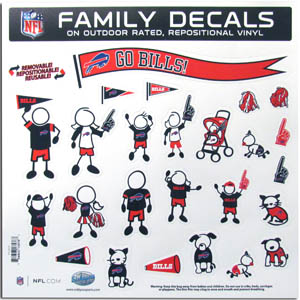 "Buffalo Bills Family Decal Lg. - Show off your team pride with our Buffalo Bills family automotive decals. The set includes 25 individual family themed decals that each feature the team logo. The 11"" x 11"" decal set is made of outdoor rated, repositionable vinyl for durability and easy application.  Officially licensed NFL product Licensee: Siskiyou Buckle .com"