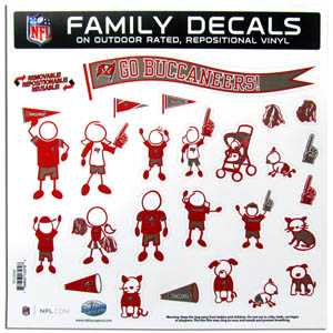 "Tampa Bay Buccaneers Family Decal Lg. - Show off your team pride with our Tampa Bay Buccaneers family automotive decals. The set includes 25 individual family themed decals that each feature the team logo. The 11"" x 11"" decal set is made of outdoor rated, repositionable vinyl for durability and easy application.  Officially licensed NFL product Licensee: Siskiyou Buckle .com"