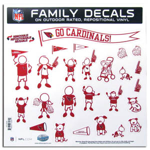 "Arizona Cardinals Family Decal Lg. - Show off your team pride with our Arizona Cardinals family automotive decals. The set includes 25 individual family themed decals that each feature the team logo. The 11"" x 11"" decal set is made of outdoor rated, repositionable vinyl for durability and easy application.  Officially licensed NFL product Licensee: Siskiyou Buckle .com"