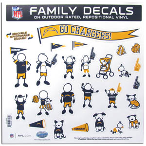 "Los Angeles Chargers  Family Decal Lg. - Show off your Los Angeles Chargers  pride with our Los Angeles Chargers family automotive decals. The set includes 25 individual family themed decals that each feature the Los Angeles Chargers  logo. The 11"" x 11"" decal set is made of outdoor rated, repositionable vinyl for durability and easy application.  Officially licensed NFL product Licensee: Siskiyou Buckle .com"