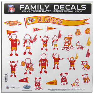 "Kansas City Chiefs Family Decal Lg. - Show off your team pride with our Kansas City Chiefs family automotive decals. The set includes 25 individual family themed decals that each feature the team logo. The 11"" x 11"" decal set is made of outdoor rated, repositionable vinyl for durability and easy application.  Officially licensed NFL product Licensee: Siskiyou Buckle Thank you for visiting CrazedOutSports.com"