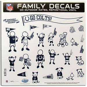 "Indianapolis Colts Family Decal Lg. - Show off your team pride with our Indianapolis Colts family automotive decals. The set includes 25 individual family themed decals that each feature the team logo. The 11"" x 11"" decal set is made of outdoor rated, repositionable vinyl for durability and easy application.  Officially licensed NFL product Licensee: Siskiyou Buckle Thank you for visiting CrazedOutSports.com"