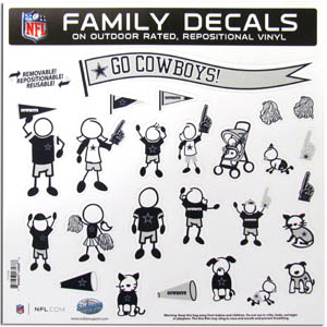 "Dallas Cowboys Family Decal Lg. - Show off your team pride with our Dallas Cowboys family automotive decals. The set includes 25 individual family themed decals that each feature the team logo. The 11"" x 11"" decal set is made of outdoor rated, repositionable vinyl for durability and easy application.  Officially licensed NFL product Licensee: Siskiyou Buckle .com"