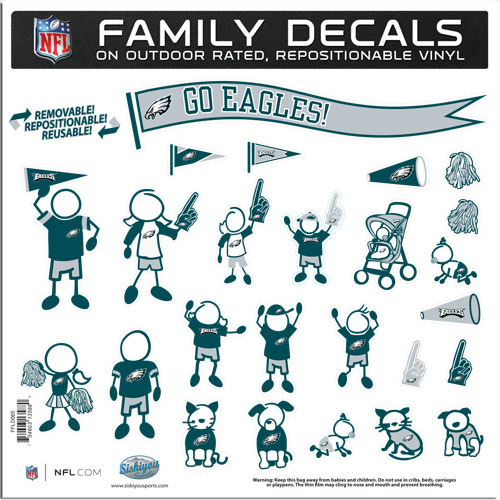 "Philadelphia Eagles Family Decal Lg. - Show off your team pride with our Philadelphia Eagles family automotive decals. The set includes 25 individual family themed decals that each feature the team logo. The 11"" x 11"" decal set is made of outdoor rated, repositionable vinyl for durability and easy application.  Officially licensed NFL product Licensee: Siskiyou Buckle .com"