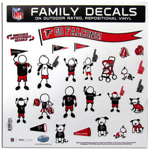 "Atlanta Falcons Family Decal Lg. - Show off your team pride with our Atlanta Falcons family automotive decals. The set includes 25 individual family themed decals that each feature the team logo. The 11"" x 11"" decal set is made of outdoor rated, repositionable vinyl for durability and easy application.  Officially licensed NFL product Licensee: Siskiyou Buckle .com"