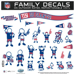 "New York Giants Family Decal Lg. - Show off your team pride with our New York Giants family automotive decals. The set includes 25 individual family themed decals that each feature the team logo. The 11"" x 11"" decal set is made of outdoor rated, repositionable vinyl for durability and easy application.  Officially licensed NFL product Licensee: Siskiyou Buckle Thank you for visiting CrazedOutSports.com"