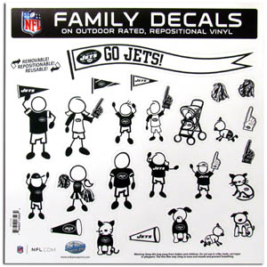 "New York Jets Family Decal Lg. - Show off your team pride with our New York Jets family automotive decals. The set includes 25 individual family themed decals that each feature the team logo. The 11"" x 11"" decal set is made of outdoor rated, repositionable vinyl for durability and easy application.  Officially licensed NFL product Licensee: Siskiyou Buckle Thank you for visiting CrazedOutSports.com"
