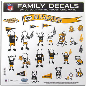 "Green Bay Packers Family Decal Lg. - Show off your team pride with our Green Bay Packers family automotive decals. The set includes 25 individual family themed decals that each feature the team logo. The 11"" x 11"" decal set is made of outdoor rated, repositionable vinyl for durability and easy application.  Officially licensed NFL product Licensee: Siskiyou Buckle .com"