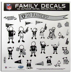 "Oakland Raiders Family Decal Lg. - Show off your team pride with our Oakland Raiders family automotive decals. The set includes 25 individual family themed decals that each feature the team logo. The 11"" x 11"" decal set is made of outdoor rated, repositionable vinyl for durability and easy application.  Officially licensed NFL product Licensee: Siskiyou Buckle Thank you for visiting CrazedOutSports.com"