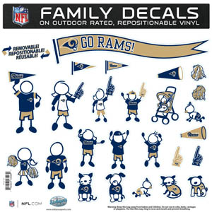 "Los Angeles Rams Family Decal Lg. - Show off your team pride with our Los Angeles Rams family automotive decals. The set includes 25 individual family themed decals that each feature the team logo. The 11"" x 11"" decal set is made of outdoor rated, repositionable vinyl for durability and easy application.  Officially licensed NFL product Licensee: Siskiyou Buckle .com"