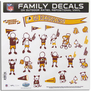 "Washington Redskins Family Decal Lg. - Show off your team pride with our Washington Redskins family automotive decals. The set includes 25 individual family themed decals that each feature the team logo. The 11"" x 11"" decal set is made of outdoor rated, repositionable vinyl for durability and easy application.  Officially licensed NFL product Licensee: Siskiyou Buckle Thank you for visiting CrazedOutSports.com"
