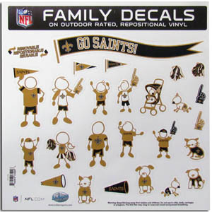 "New Orleans Saints Family Decal Lg. - Show off your team pride with our New Orleans Saints family automotive decals. The set includes 25 individual family themed decals that each feature the team logo. The 11"" x 11"" decal set is made of outdoor rated, repositionable vinyl for durability and easy application.  Officially licensed NFL product Licensee: Siskiyou Buckle Thank you for visiting CrazedOutSports.com"