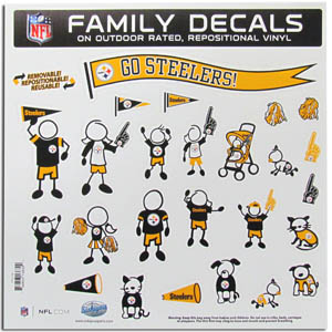 "Pittsburgh Steelers Family Decal Lg. - Show off your team pride with our Pittsburgh Steelers family automotive decals. The set includes 25 individual family themed decals that each feature the team logo. The 11"" x 11"" decal set is made of outdoor rated, repositionable vinyl for durability and easy application.  Officially licensed NFL product Licensee: Siskiyou Buckle .com"