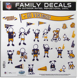 "Minnesota Vikings Family Decal Lg. - Show off your team pride with our Minnesota Vikings family automotive decals. The set includes 25 individual family themed decals that each feature the team logo. The 11"" x 11"" decal set is made of outdoor rated, repositionable vinyl for durability and easy application.  Officially licensed NFL product Licensee: Siskiyou Buckle Thank you for visiting CrazedOutSports.com"