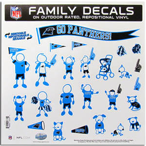 "Carolina Panthers Family Decal Lg. - Show off your team pride with our Carolina Panthers family automotive decals. The set includes 25 individual family themed decals that each feature the team logo. The 11"" x 11"" decal set is made of outdoor rated, repositionable vinyl for durability and easy application.  Officially licensed NFL product Licensee: Siskiyou Buckle Thank you for visiting CrazedOutSports.com"