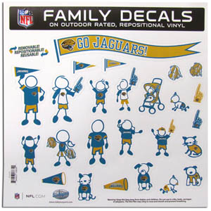 "Jacksonville Jaguars Family Decal Lg. - Show off your team pride with our Jacksonville Jaguars family automotive decals. The set includes 25 individual family themed decals that each feature the team logo. The 11"" x 11"" decal set is made of outdoor rated, repositionable vinyl for durability and easy application.  Officially licensed NFL product Licensee: Siskiyou Buckle Thank you for visiting CrazedOutSports.com"