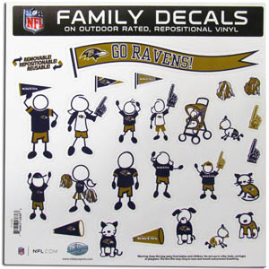 "Baltimore Ravens Family Decal Lg. - Show off your team pride with our Baltimore Ravens family automotive decals. The set includes 25 individual family themed decals that each feature the team logo. The 11"" x 11"" decal set is made of outdoor rated, repositionable vinyl for durability and easy application.  Officially licensed NFL product Licensee: Siskiyou Buckle Thank you for visiting CrazedOutSports.com"