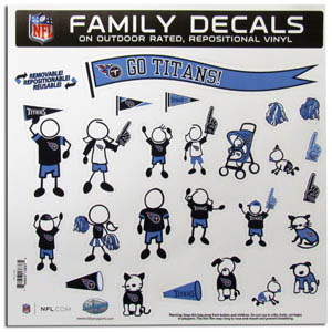 "Tennessee Titans Family Decal Lg. - Show off your team pride with our Tennessee Titans family automotive decals. The set includes 25 individual family themed decals that each feature the team logo. The 11"" x 11"" decal set is made of outdoor rated, repositionable vinyl for durability and easy application.  Officially licensed NFL product Licensee: Siskiyou Buckle .com"