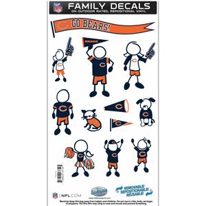"Chicago Bears Family Decal Med. - Show off your team pride with our Chicago Bears family automotive decals. The set includes 12 individual family themed decals that each feature the team logo. The 6"" x 11"" decal set is made of outdoor rated, repositionable vinyl for durability and easy application.  Officially licensed NFL product Licensee: Siskiyou Buckle .com"