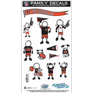 "Cincinnati Bengals Family Decal Med. - Show off your team pride with our Cincinnati Bengals family automotive decals. The set includes 12 individual family themed decals that each feature the team logo. The 6"" x 11"" decal set is made of outdoor rated, repositionable vinyl for durability and easy application.  Officially licensed NFL product Licensee: Siskiyou Buckle .com"