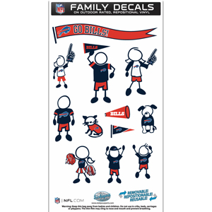 "Buffalo Bills Family Decal Med. - Show off your team pride with our Buffalo Bills family automotive decals. The set includes 12 individual family themed decals that each feature the team logo. The 6"" x 11"" decal set is made of outdoor rated, repositionable vinyl for durability and easy application.  Officially licensed NFL product Licensee: Siskiyou Buckle .com"
