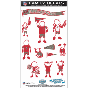 "Tampa Bay Buccaneers Family Decal Med. - Show off your team pride with our Tampa Bay Buccaneers family automotive decals. The set includes 12 individual family themed decals that each feature the team logo. The 6"" x 11"" decal set is made of outdoor rated, repositionable vinyl for durability and easy application.  Officially licensed NFL product Licensee: Siskiyou Buckle .com"