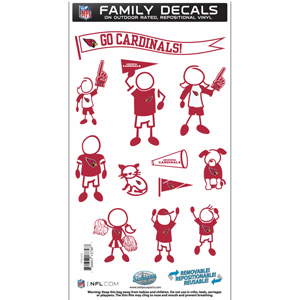 "Arizona Cardinals Family Decal Med. - Show off your team pride with our Arizona Cardinals family automotive decals. The set includes 12 individual family themed decals that each feature the team logo. The 6"" x 11"" decal set is made of outdoor rated, repositionable vinyl for durability and easy application.  Officially licensed NFL product Licensee: Siskiyou Buckle .com"