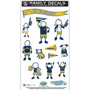 "Los Angeles Chargers  Family Decal Med. - Show off your Los Angeles Chargers  pride with our Los Angeles Chargers family automotive decals. The set includes 12 individual family themed decals that each feature the Los Angeles Chargers  logo. The 6"" x 11"" decal set is made of outdoor rated, repositionable vinyl for durability and easy application.  Officially licensed NFL product Licensee: Siskiyou Buckle .com"