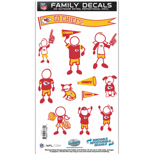 "Kansas City Chiefs Family Decal Med. - Show off your team pride with our Kansas City Chiefs family automotive decals. The set includes 12 individual family themed decals that each feature the team logo. The 6"" x 11"" decal set is made of outdoor rated, repositionable vinyl for durability and easy application.  Officially licensed NFL product Licensee: Siskiyou Buckle Thank you for visiting CrazedOutSports.com"
