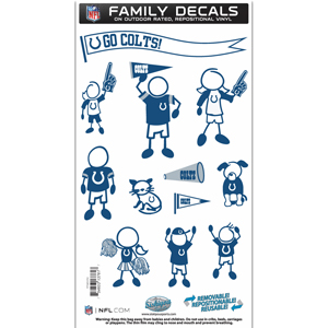 "Indianapolis Colts Family Decal Med. - Show off your team pride with our Indianapolis Colts family automotive decals. The set includes 12 individual family themed decals that each feature the team logo. The 6"" x 11"" decal set is made of outdoor rated, repositionable vinyl for durability and easy application.  Officially licensed NFL product Licensee: Siskiyou Buckle Thank you for visiting CrazedOutSports.com"