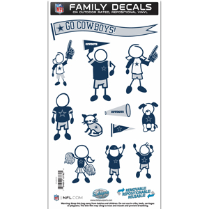 "Dallas Cowboys Family Decal Med. - Show off your team pride with our Dallas Cowboys family automotive decals. The set includes 12 individual family themed decals that each feature the team logo. The 6"" x 11"" decal set is made of outdoor rated, repositionable vinyl for durability and easy application.  Officially licensed NFL product Licensee: Siskiyou Buckle .com"