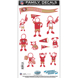 "San Francisco 49ers Family Decal Med. - Show off your team pride with our San Francisco 49ers family automotive decals. The set includes 12 individual family themed decals that each feature the team logo. The 6"" x 11"" decal set is made of outdoor rated, repositionable vinyl for durability and easy application.  Officially licensed NFL product Licensee: Siskiyou Buckle .com"