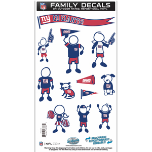 "New York Giants Family Decal Med. - Show off your team pride with our New York Giants family automotive decals. The set includes 12 individual family themed decals that each feature the team logo. The 6"" x 11"" decal set is made of outdoor rated, repositionable vinyl for durability and easy application.  Officially licensed NFL product Licensee: Siskiyou Buckle .com"